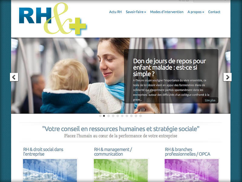 Réalisation du site internet pour RH-&-Plus - 'Ressources Humaires)